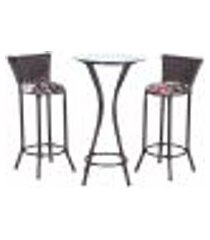 conjunto bistrô mesa alta e 2 banquetas moscou tabaco a18 para cozinha edicula bar varanda