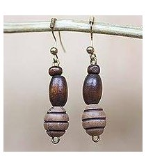 wood and recycled plastic beaded dangle earrings, 'cocoa delight' (ghana)