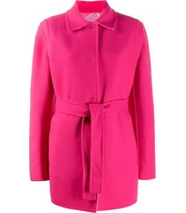 emilio pucci belted single breasted coat - pink