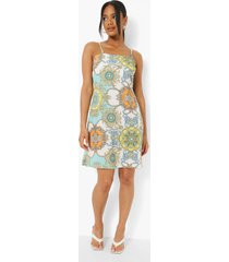 sjaal print mini jurk met zakdoek zoom, turquoise