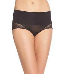 women's spanx undie-tectable lace hipster panties, size medium - black