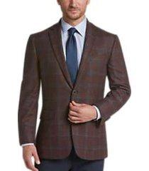 joseph abboud limited edition rust windowpane modern fit sport coat