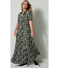 jersey jurk janet & joyce limoengroen::zwart