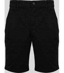 bermuda de sarja masculina chino reta com bolsos preta