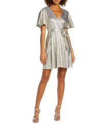 women's ever new metallic short sleeve faux wrap dress