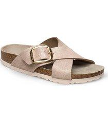 sieana big buckle shoes summer shoes flat sandals beige birkenstock