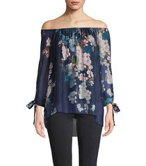 floral silk off-the-shoulder top