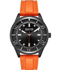 kenneth cole reaction men's dress sport round orange silicon strap watch 46mm