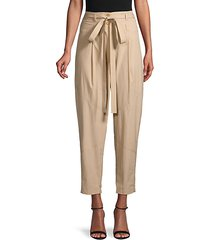 bryan belted & cropped pleat-front pants