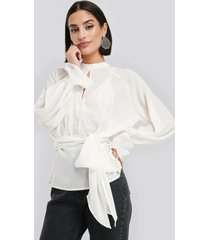 na-kd party high neck knot blouse - white