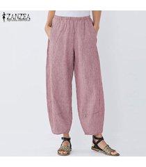 zanzea mujeres anchas piernas harem elástico de la cintura casual pantalones largos holgados pantalones plus -rojo