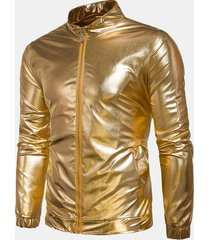 tasche a cerniera riflettenti per uomo. giacca con maniche lunghe di colore solido
