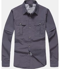 manica staccabile per uomo ad asciugatura rapida camicia casual carico camicias
