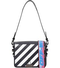 diag flap shoulder bag in black leather
