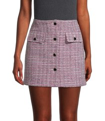 avec les filles women's buttoned tweed skirt - pink - size l