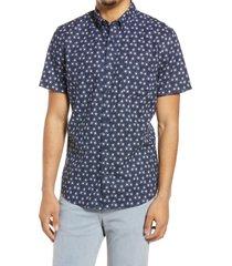men's treasure & bond slub short sleeve linen blend button-down shirt, size xx-large - blue