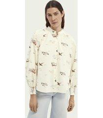 scotch & soda geplooide blouse van biologisch katoen