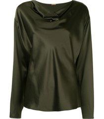 silk army green blouse