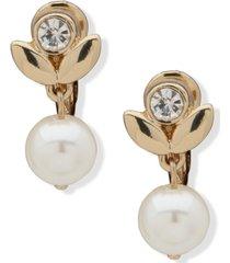 anne klein gold-tone crystal & imitation pearl petal clip-on drop earrings