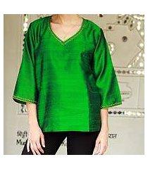 silk tunic, 'grand emerald' (india)