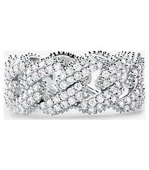 mk anello con maglie a catena in argento sterling con placcatura in metallo prezioso e pavé - argento (argento) - michael kors