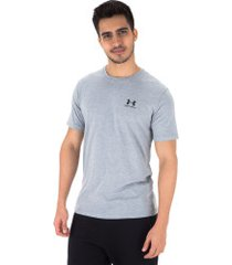 camiseta under armour left chest ss - masculina - cinza
