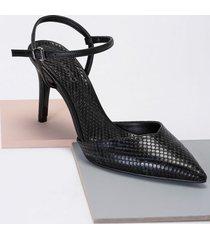 amaro feminino scarpin d'orsay e pulseira, cobra preto