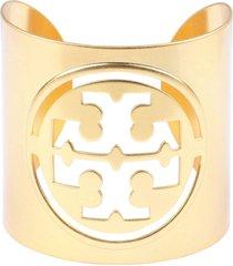 tory burch miller logo detail brass cuff bracelet