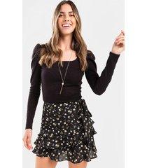 ashtin floral ruffle tiered mini skirt - black