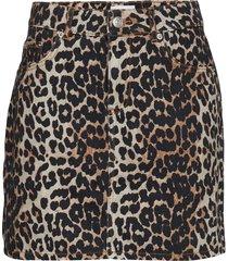 print denim skirt kort kjol brun ganni