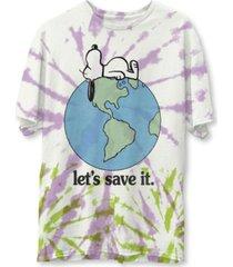 junk food men's snoopy save planet tie dye short sleeve t-shirt