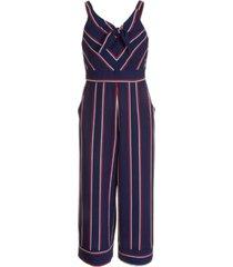 pink & violet big girls striped tie-front pebble crepe jumpsuit