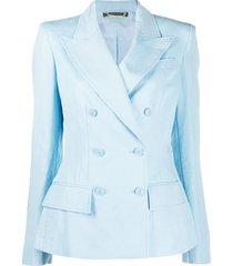 alberta ferretti fitted double breasted blazer - blue
