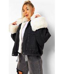 oversized spijkerjas met faux fur zoom, white