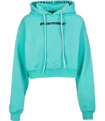 pharmacy industry woman short mint green hoodie with contrast pharmacy print