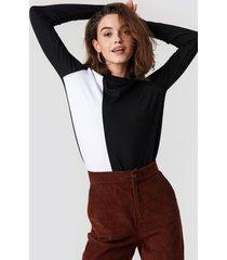 trendyol block color knitted blouse - black