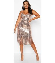 plus sequin bustier tassel midi dress, gold