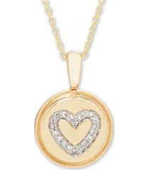 diamond (1/16 ct. t.w.) heart pendant in 14k yellow or rose gold