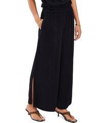vince camuto wide leg side slit pants, size large in rich black at nordstrom