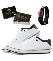 sapatenis madrid style kit porta cartão em couro com relógio tenis casual branco
