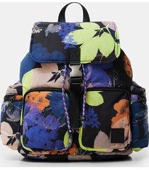 padded floral backpack - black - u