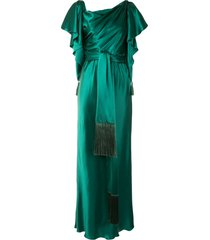 dolce & gabbana cape sleeves tied long dress - green