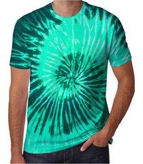 camiseta estampada neway masculina tie dye verde água - kanui