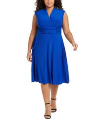 jessica howard plus size ruched-waist dress