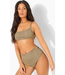 mix & match gekreukeld bikini broekje met hoge taille, light khaki