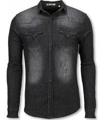 enos denim overhemd grijs