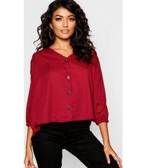 horn button through blouse, wine