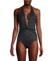 melissa odabash women's tahiti plunging one-piece swimsuit - black - size 42 (6)