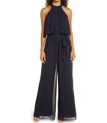 women's eliza j popover wide leg jumpsuit, size 0 - blue