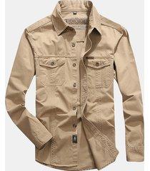 uomo casual camicia da lavoro in cotone con doppio taschino a taglia forte
